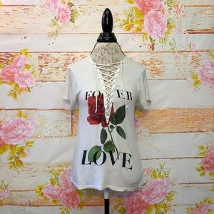 Express Lace-Front Graphic Tee